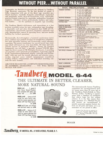 1967 Tandberg ad in the Reel2ReelTexas.com vintage recording collection