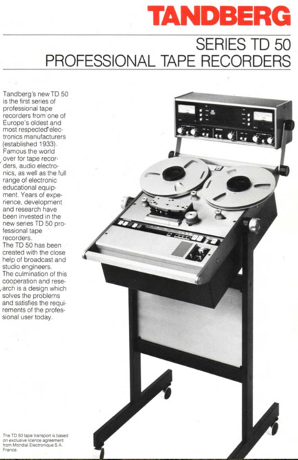 Tandberg Series TD 50 professional reel tape recorder information in the Museum of Magnetic Sound Recording