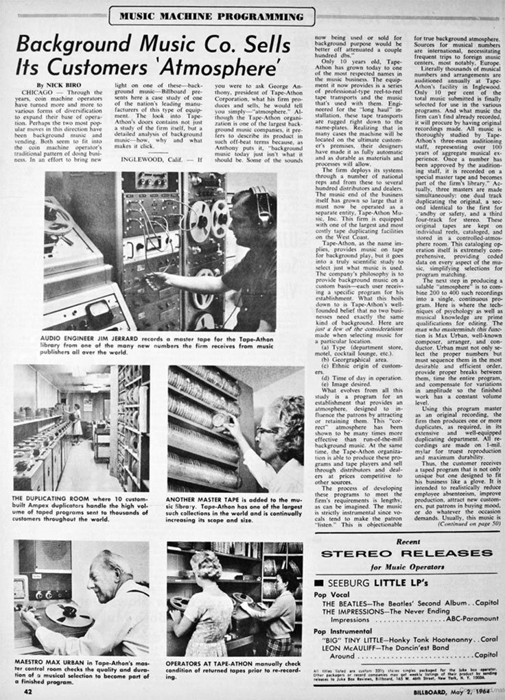 1964 Billboard article about Tape-Athon reel to reel tape recorders in the Reel2ReelTexas /Museumof Magnetic Sound Recording vintage recording collection