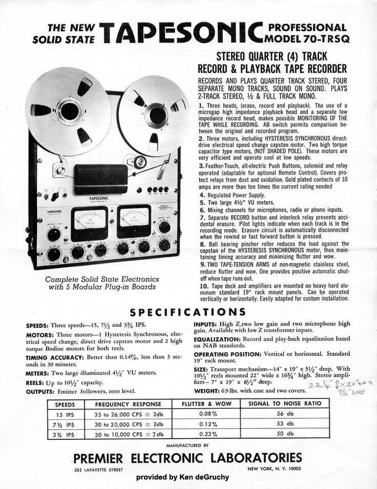ad for the Tapesonic Model 70 TRSQ provided by Ken de Gruchy