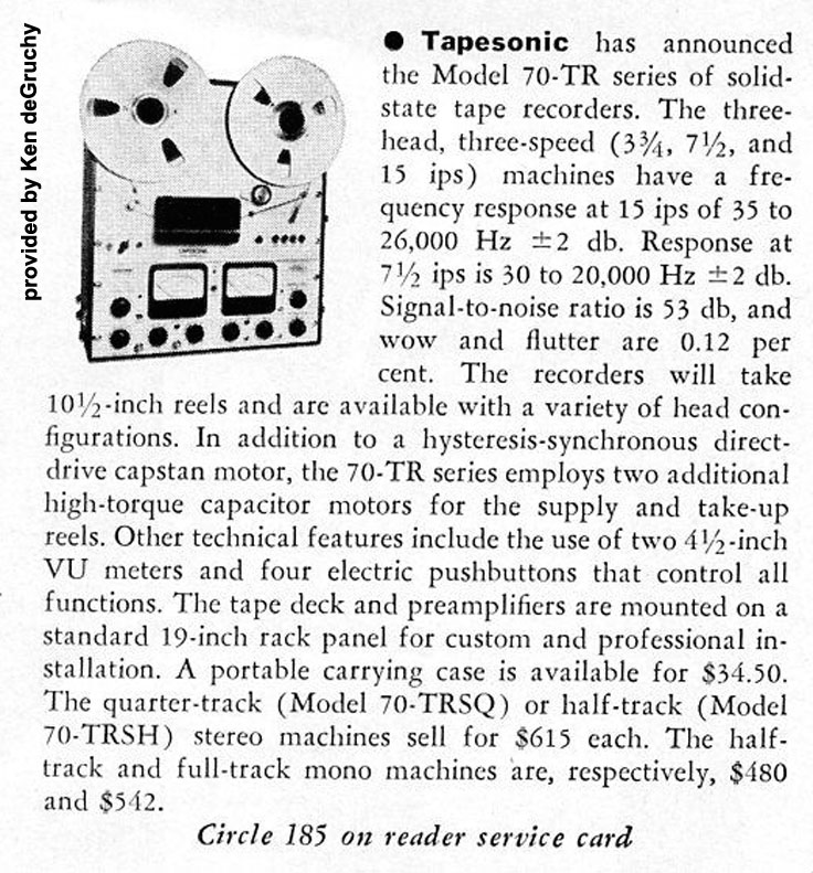 ad for the Tapesonic Model 70 TR  provided by Ken de Gruchy