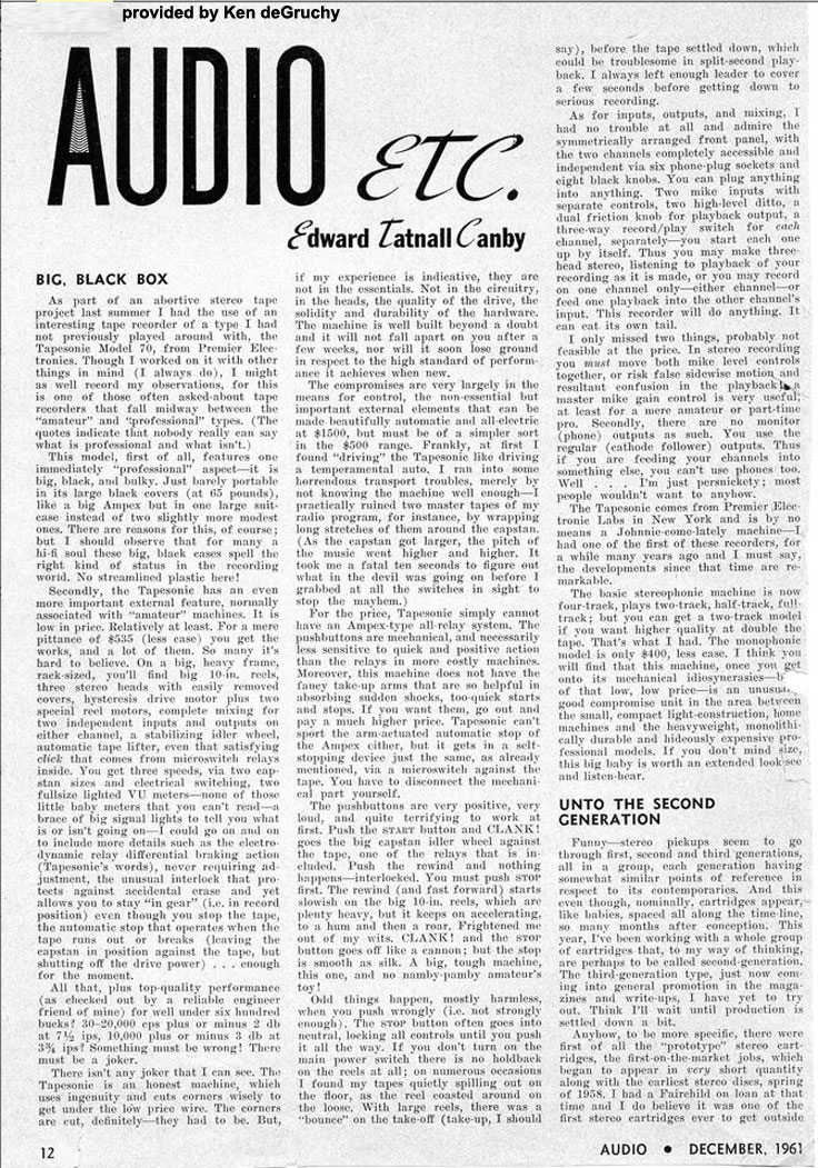 1961 Audio magazine review of the Tapesonic Model 70 orovided by Kenneth de Gruchy