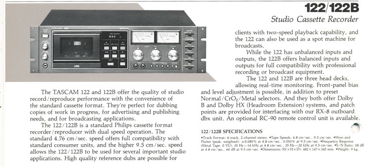 1085 ad for the Teac Tascam 122 MKII cassette recorder in the Reel2ReelTexas.com vintage recording collection