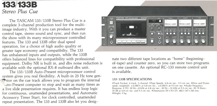 1983 Ad for the Teac Tascam 133 cassette deck in Reel2ReelTexas.com's vintage recording collection