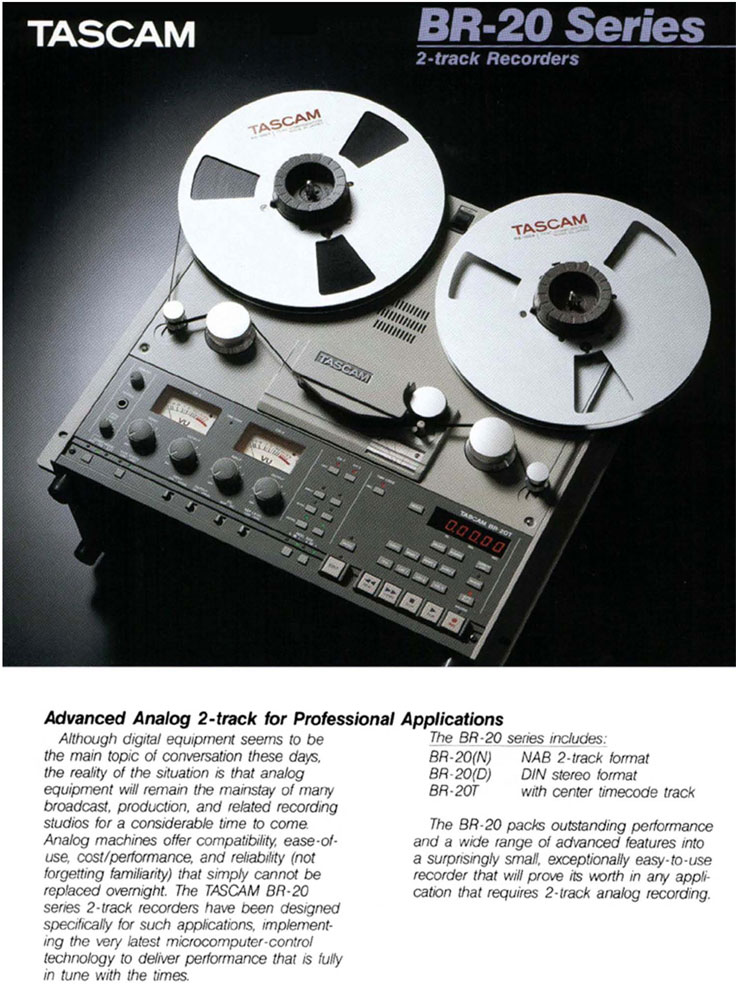 Tascam BR-20 professional recorder brochure in the Reel2ReelTexas.com vintage recording collection
