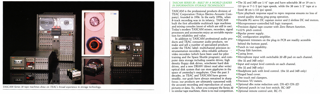 Tascam data instrumentation reel to reel tape recorders