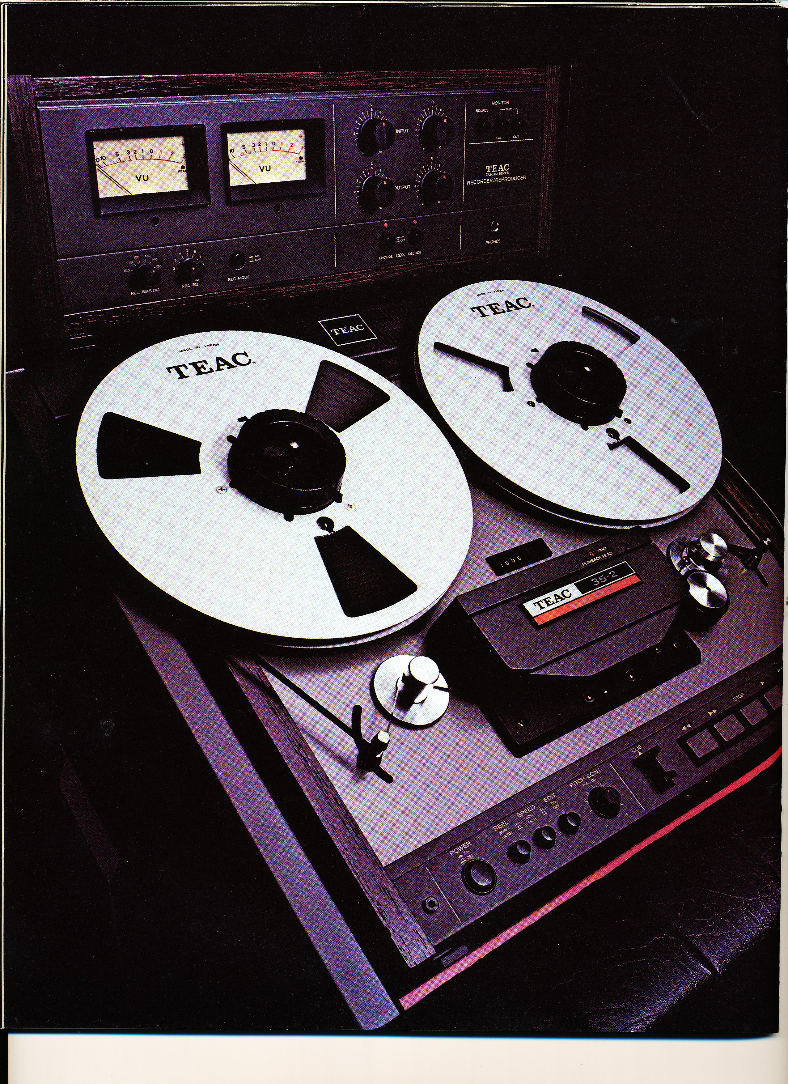 1979 ad for the Teac Tascam 35-2 2 track professional reel to reel tape recorder in the Reel2ReelTexas.com vintage recording collection Museum