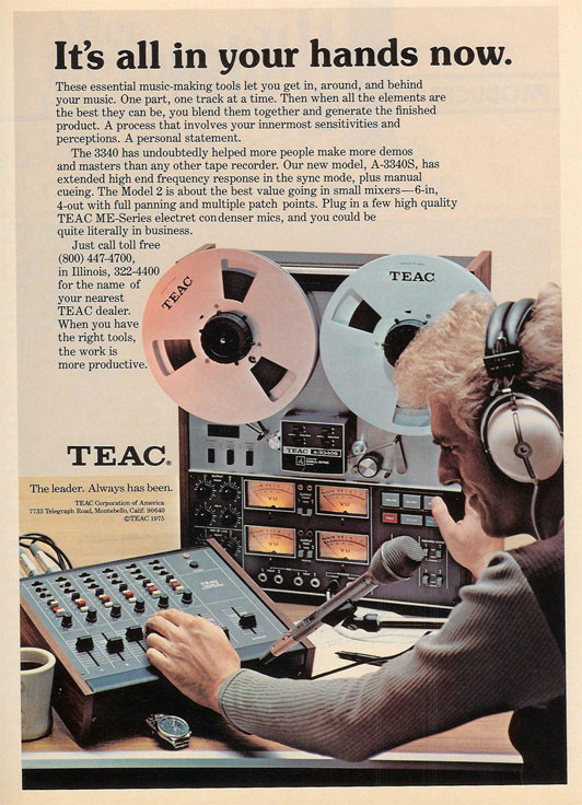 1977 ad for the Teac Tascam A-3340 2 track professional reel to reel tape recorder in the Reel2ReelTexas.com vintage recording collection Museum