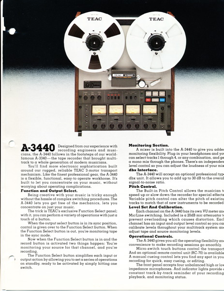 Teac A-3440 4 Track professional reel tape recorder in the Reel2ReelTexas.com vintage recording collection