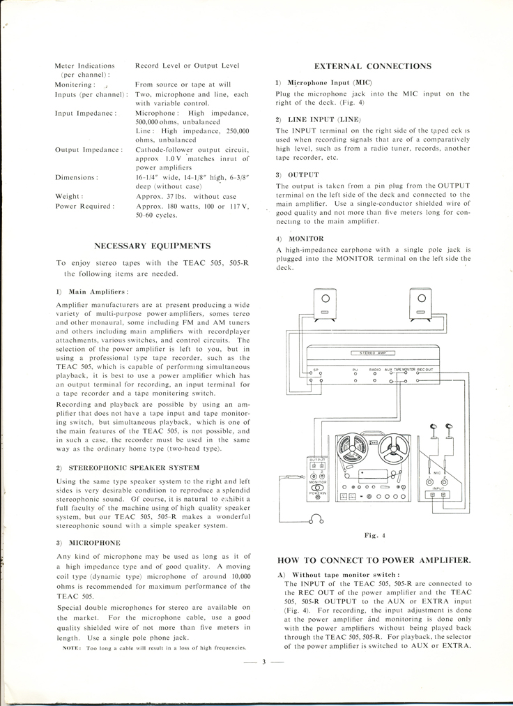 10961 manual for the Teac 505-R reel to reel tape recorder  in the Reel2ReelTexas.com vintage reel tape recorder recording collection