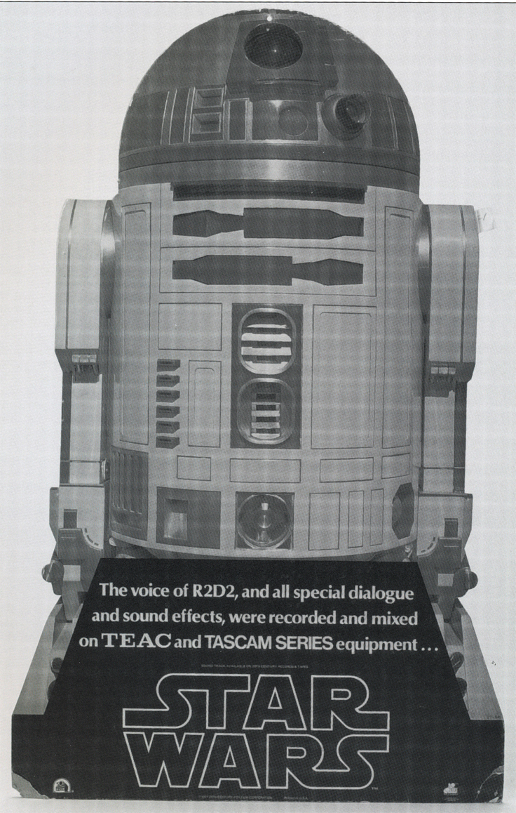 Star wars ad for the R2D2 audio recording effects completed by the Teac Tascam 80-8 pro reel to reel tape recorder in the Reel2ReelTexas.com vintage recording collection