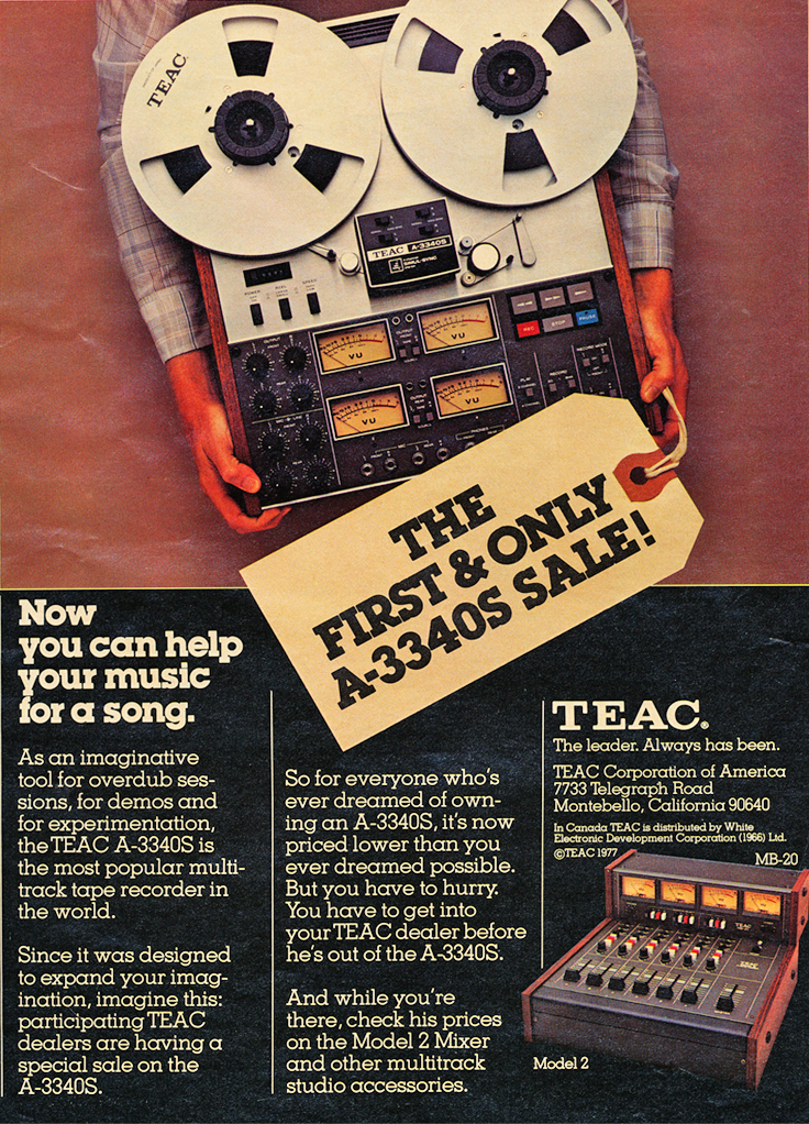 Ad for the Teac A-3340 4 track simul-Sync reel to reel tape recorder in the Reel2ReelTexas.com vintage recording collection