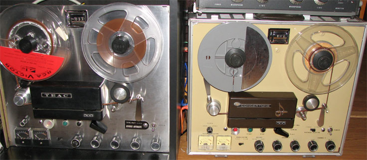 The Teac 505 and Concertone 505 reel tape recorders in the Reel2ReelTexas.com vintage recording collection