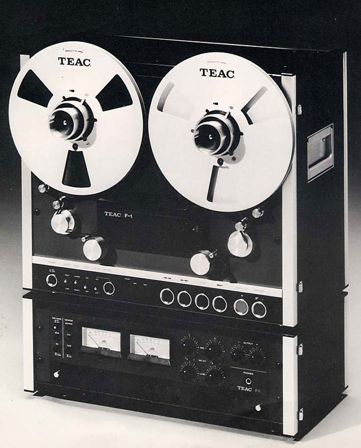 Teac F-1  professional reel to reel tape recorder ad in the Museum of Magnetic Sound Recording