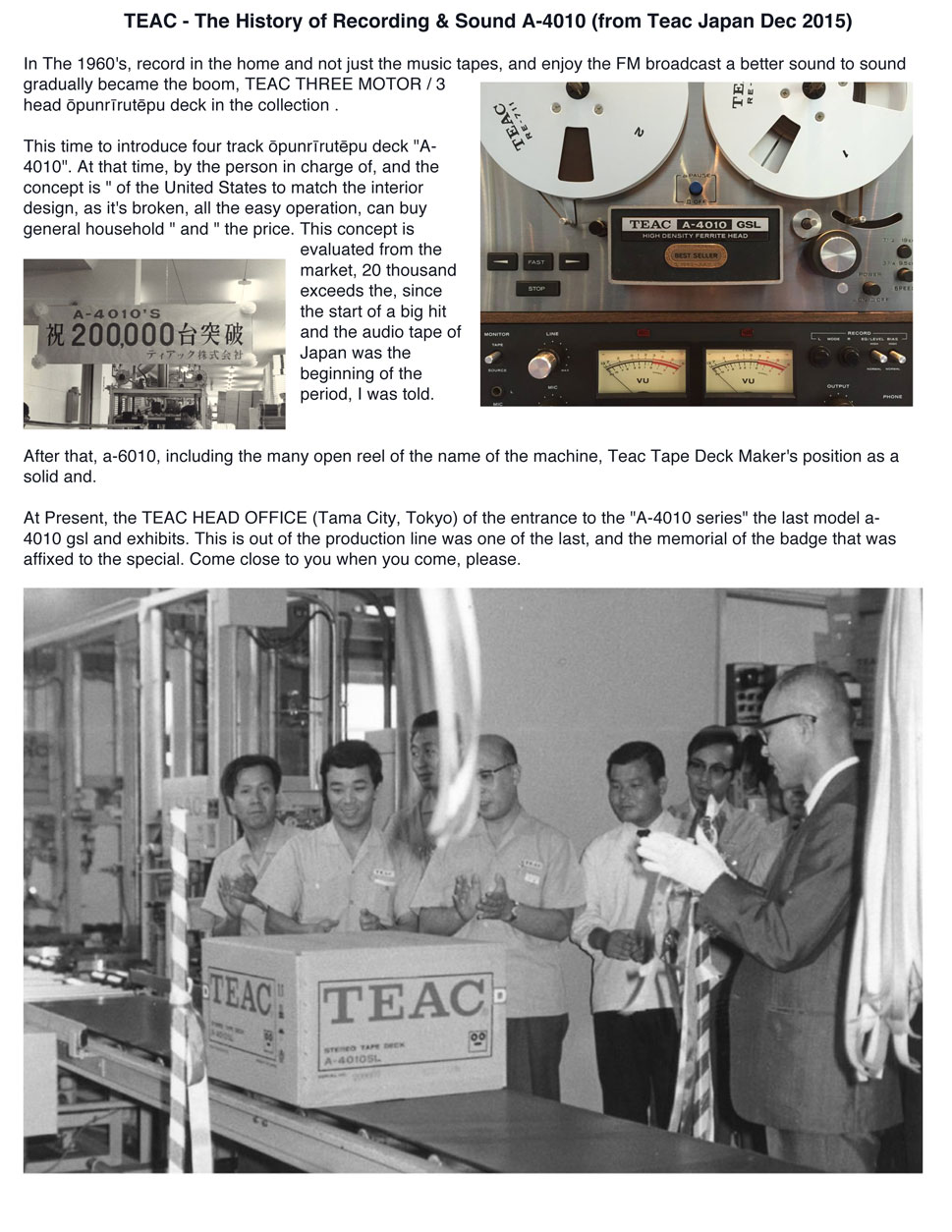 translated Teac Japan posting of information about the Teac 4010S selling 200,000 units in our vintage recording collection