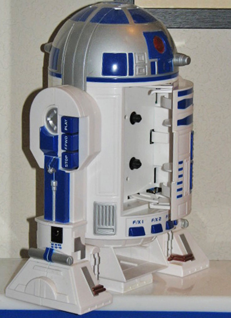 Star Wars R2D2 Replica (complete with sounds. The Teac Tascam 80-8 eight track reel to reel tape recorder was used to record te sounds of R2Dr and 3CPOin the Star Wars movie. The R2D2 replica is in the Reel2ReelTexas.com vintage recording collection