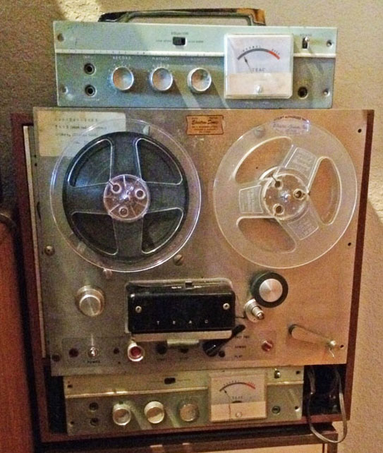Teac's first professional reel to reel tape recorder. the TD-102 in its original wooden shipping box in the Museum of magnetic sound recording