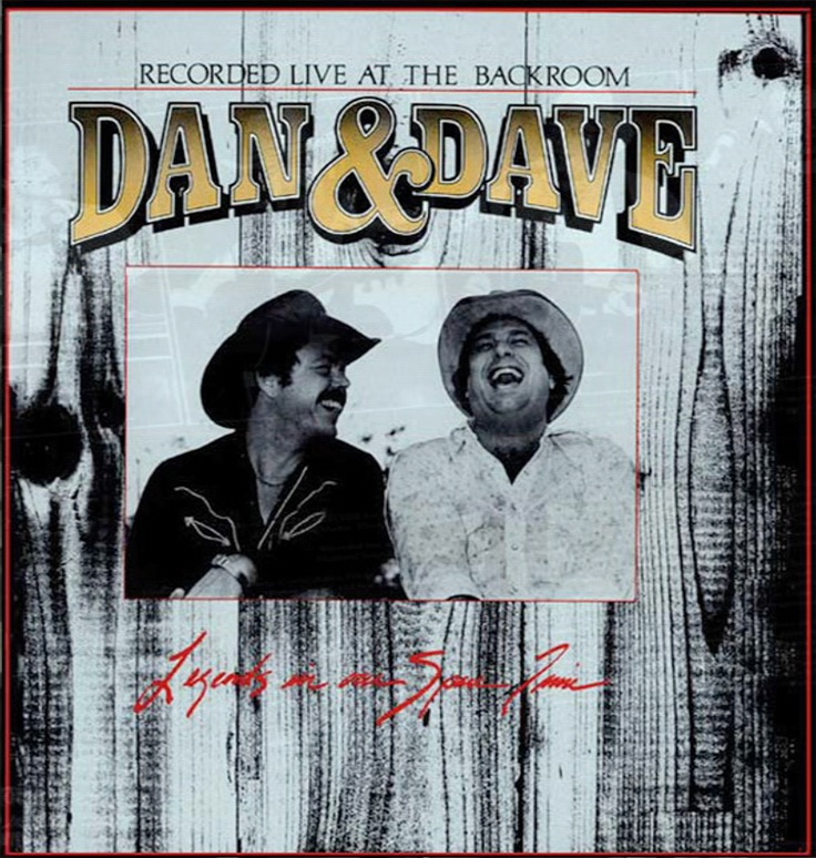 "1980 photo of the album cover for Dan and Dave Live At The Backroom - Legends In Our Spare Time"" produced on  the Teac Tascam 80-8 8-track reel to reel tape recorder in the Phantom Productions' on-location van of the Teac 80-0 8 track reel to reel 1/2"" tape recorder in Reel2ReelTexas.com's vintage recording collection"