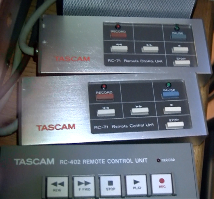 Remote control for the Teac Tascam 80-8 8 track professional reel to reel tape recorder used by Phantom Productions and now in the Reel2ReelTexas vintage recording colle