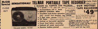 1968 McGee ad for the Telmar recorder in the Reel2ReelTexas.com vintage reel tape recorder recording collection