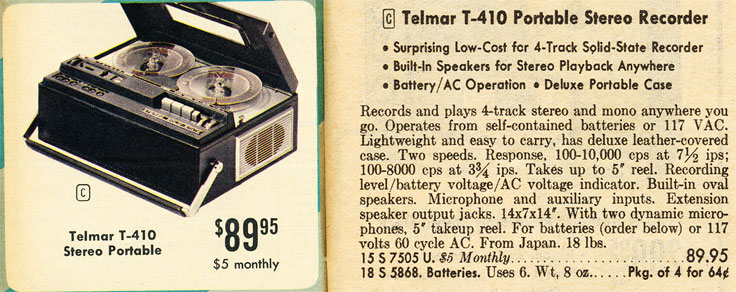 1967 Uher built Telmar T-410 portable reel to reel tape recorder in the Reel2ReelTexas.com vintage reel tape recorder recording collection