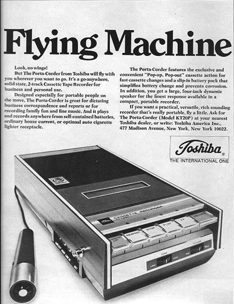 Toshiba cassette recorder ad in the Reel2ReelTexas.com / Museum of Magnetic Sound Recording museum vintage recording collection