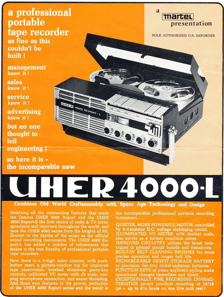 Uher 4000L reel to reel tape deck in the Reel2ReelTexas.com vintage recording collection