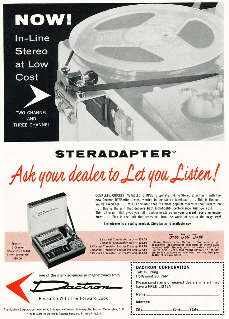 Sterapapter to add a stereo head to a tape recoder - ad is in the Reel2ReelTexas.com vintage recording collection