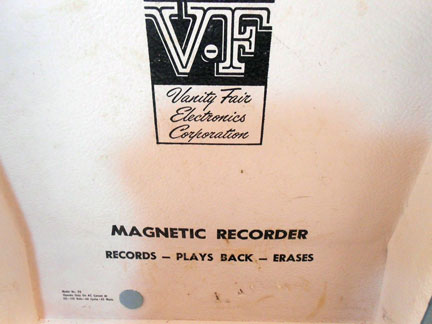 Vanity Fair Electronics Corp. Magnetic Phonograph Recorder photos donated by Mark A. Williams Or kinksfanforever from Denver
