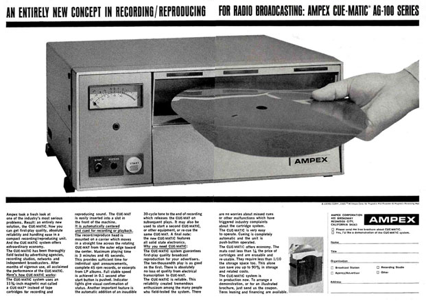 1966 ad for the Ampex AG100 Cue-Matic MAT disc recorder in the Reel2ReelTexas/Museum of Magnetic Sound Recording vintage reel tape recorder recording collection