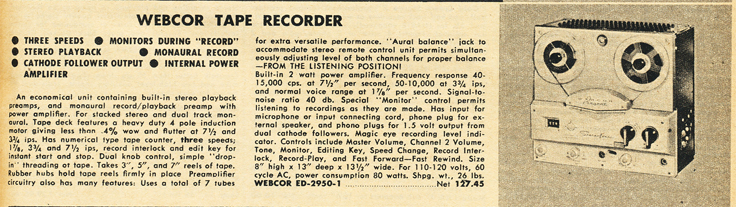 1959 Lafayette Radio catalog listing for the Webcor Regent reel to reel tape recorder in the Reel2ReelTexas.com vintage recording collection