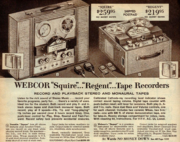 1964 ad for the Webcor Squire reel to reel tape recorder in the Reel2ReelTexas.com vintage recording collection