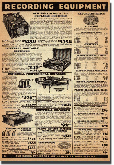 1938 catalog ad for Presto Disc recorders in the Reel2ReelTexas.com vintage recording collection