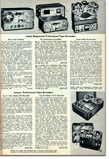 1955 ad for the Magnecord reel to reel tape recorder in the Reel2ReelTexas.com MOMSR vintage recording collection