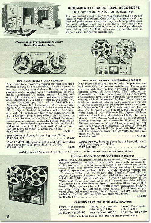 1956 ad for the Magnecord reel to reel tape recorder in the Reel2ReelTexas.com MOMSR vintage recording collection