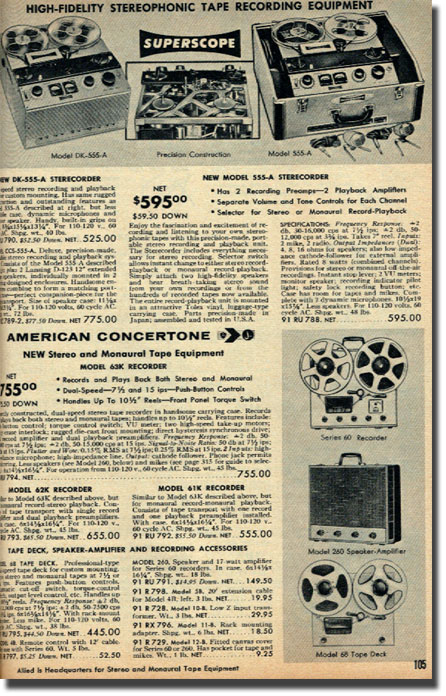 Ad for Sony 555 reel tape recorder from 1959 in the Reel2ReelTexas.com reel to reel tape recorder vintage reel tape recorder recording collection
