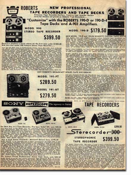 1961 McGee Radio catalog listing for Roberts Recorder reel to reel tape recorders in the Reel2ReelTexas.com & Museum of Magnetic Sound Recording vintage recording collection