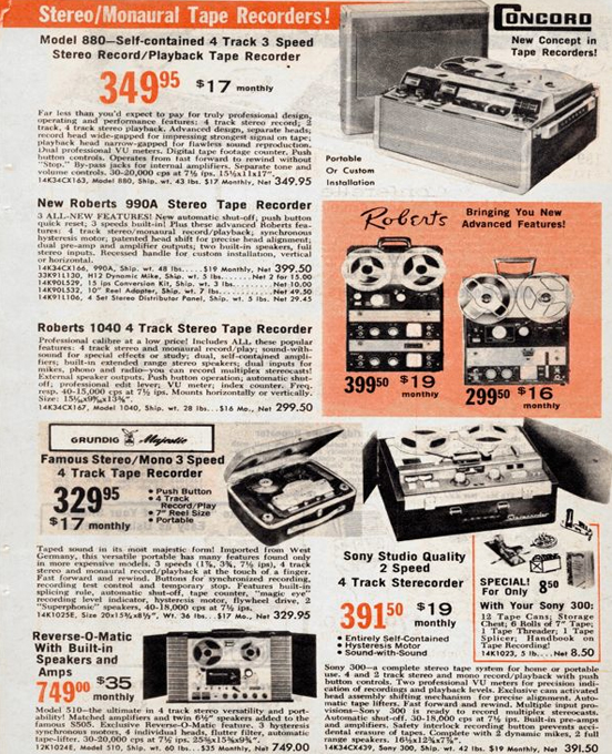 1963 Roberts Recorder listing in the 1963 Radio Shack catalog in the Reel2ReelTexas.com & Museum of Magnetic Sound Recording vintage recording collection
