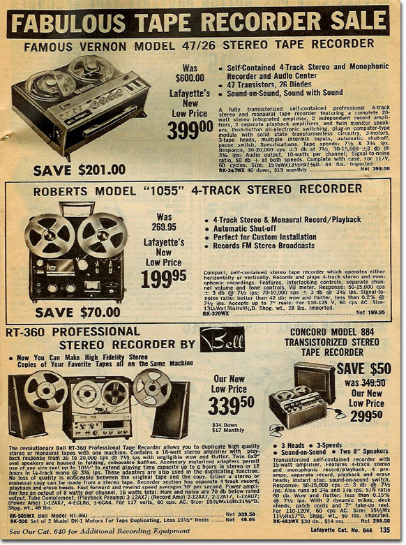 1964 catalog ad for Roberts Recorder reel to reel tape recorders in the Reel2ReelTexas.com & Museum of Magnetic Sound Recording vintage recording collection