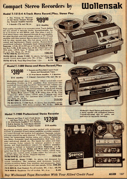 1965 ad for the Wollensak 1580 reel to reel tape recorder in the Reel2ReelTexas.com vintage recording collection