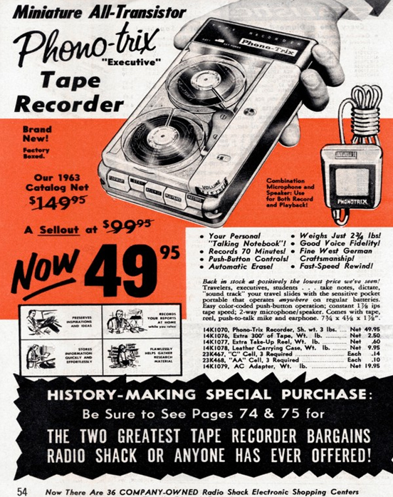Small battery portable reel to reel tape recorder ad in the Reel2ReelTexas/Theophilus/MOMSR vintage reel tape recorder collection