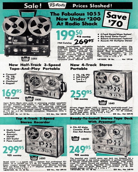 1965 catalog ad for Roberts Recorder reel to reel tape recorders in the Reel2ReelTexas.com & Museum of Magnetic Sound Recording vintage recording colle