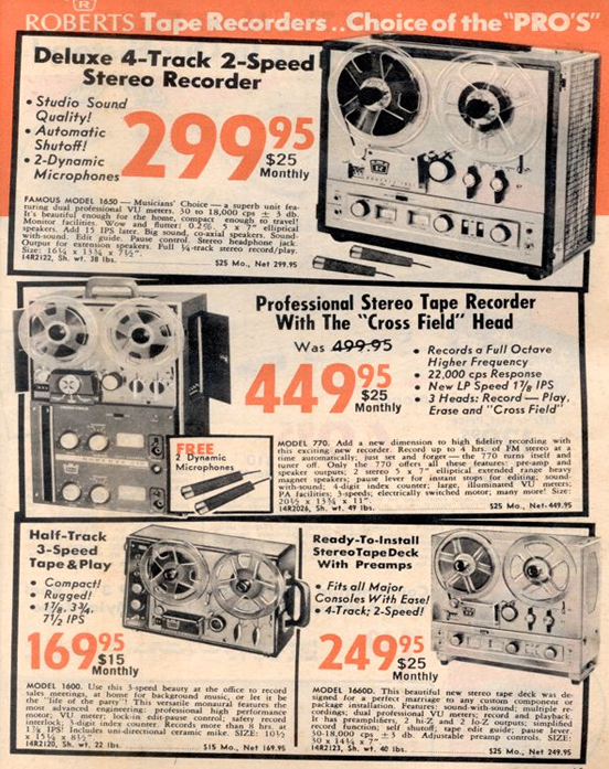 1966 catalog ad for Roberts Recorder reel to reel tape recorders in the Reel2ReelTexas.com & Museum of Magnetic Sound Recording vintage recording colle