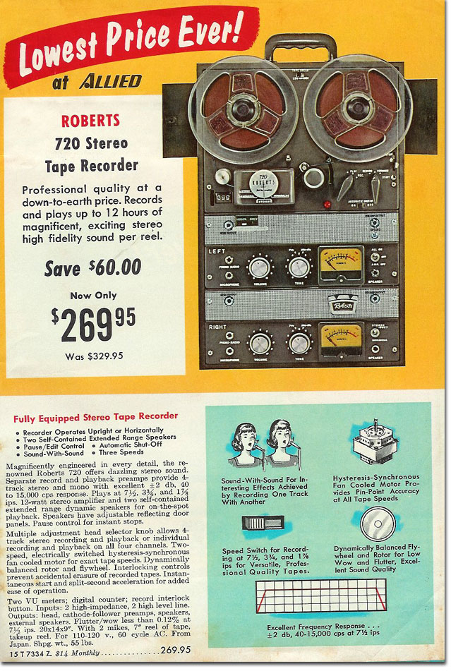 1967 catalog ad for Roberts Recorder reel to reel tape recorders in the Reel2ReelTexas.com & Museum of Magnetic Sound Recording vintage recording collection
