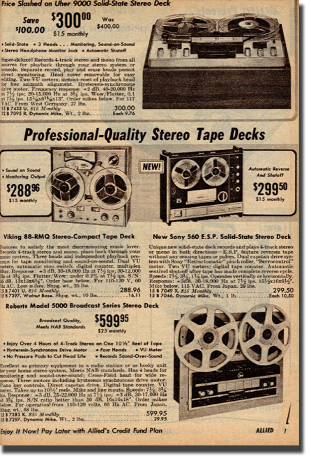 1968 catalog  ad for Roberts Recorder reel to reel tape recorders in the Reel2ReelTexas.com & Museum of Magnetic Sound Recording vintage recording collection