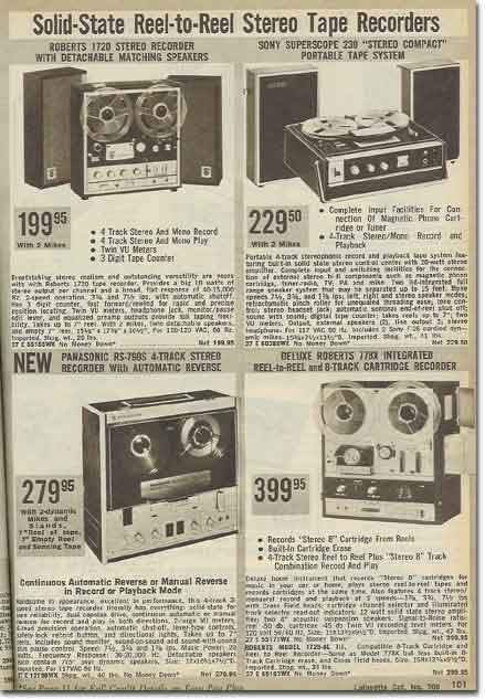 1970 catalog  ad for Roberts Recorder reel to reel tape recorders in the Reel2ReelTexas.com & Museum of Magnetic Sound Recording vintage recording collection
