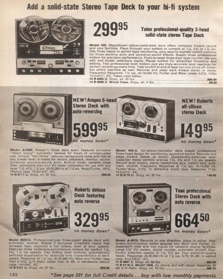 1971 catalog  ad for Roberts Recorder reel to reel tape recorders in the Reel2ReelTexas.com & Museum of Magnetic Sound Recording vintage recording collection