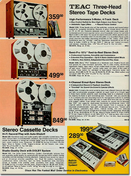 1973 Olson catalog listing for the Teac A-2340 reel to reel tape recorder in the Reel2ReelTexas.com vintage recording collection