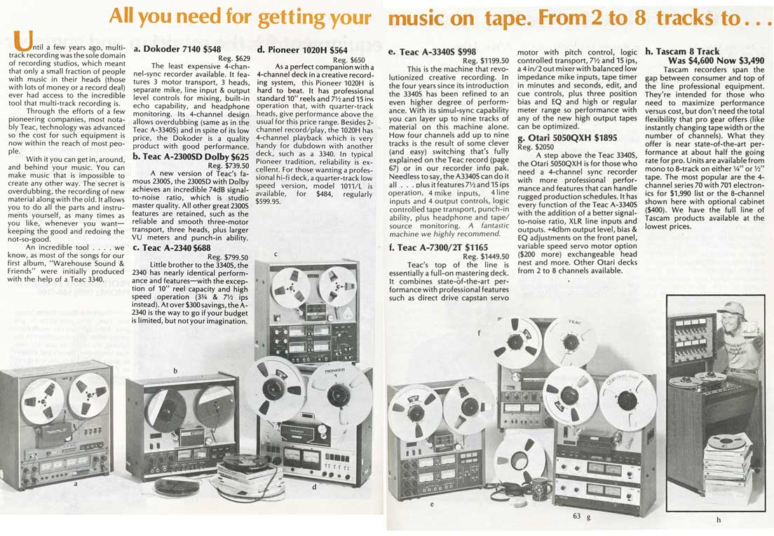 Warehouse Sound listing of the Teac Series 70H8 8 track reel to reel tape recorder in the Reel2ReelTexas.com vintage recording collection