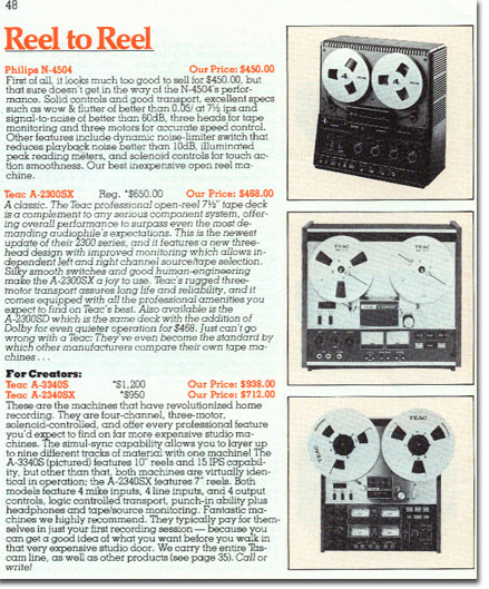 1978Sound Warehouse catalog listing  for the Teac A-3340 reel tape recorder in the Reel2ReelTexas.com vintage recording collection